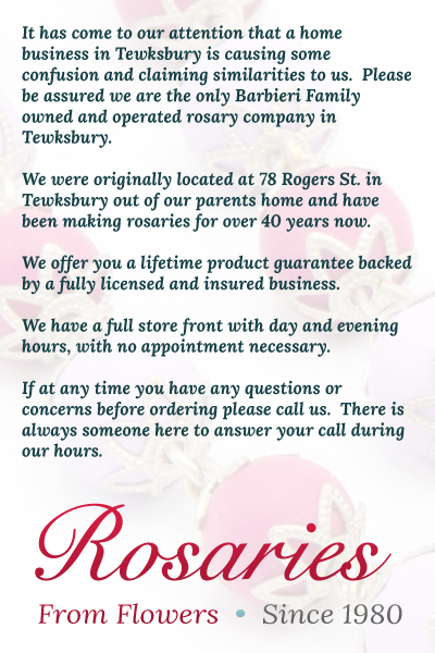Welcome To Rosaries From Flowers Rosaries Inc